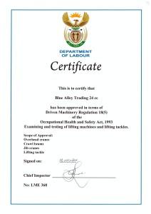 LME Certificate 2015